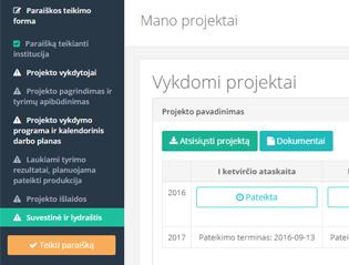 Projektų paraiškų ir ataskaitų vertinimo sistema